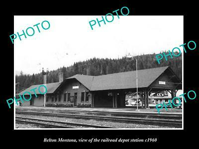 OLD LARGE HISTORIC PHOTO OF BELTON MONTANA, THE RAILROAD DEPOT STATION c1960 1