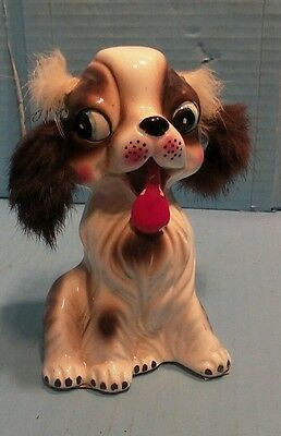 """Vintage Ceramic White & Brown Dog w/ Fur Piggy Coin Bank tongue sticking out 5"""""""