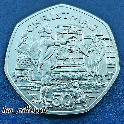 1992 Fifty Pence 50p Newspaper Seller Isle Of Man Christmas Coin UNC