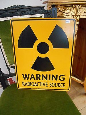 RECLAIMED  ORIGINAL  1980s radioactive  METAL SIGN