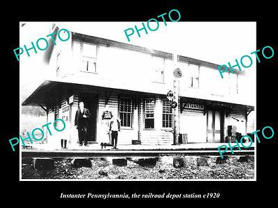 OLD LARGE HISTORIC PHOTO OF INSTANTER PENNSYLVANIA, THE RAILROAD STATION c1920