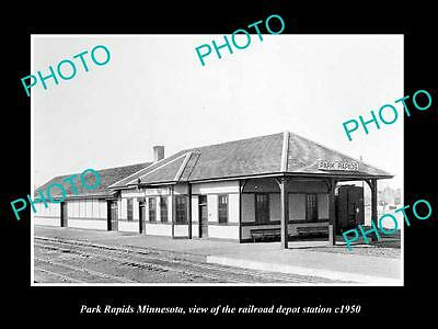 OLD LARGE HISTORIC PHOTO OF PARK RAPIDS MINNESOTA, RAILROAD DEPOT STATION c1950