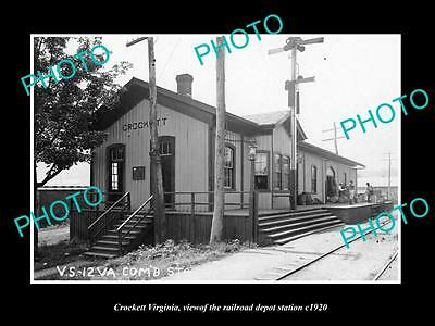 OLD LARGE HISTORIC PHOTO OF CROCKETT VIRGINIA, THE RAILROAD DEPOT STATION c1920