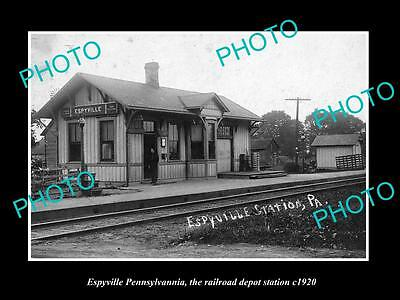 OLD LARGE HISTORIC PHOTO OF ESPYVILLE PENNSYLVANIA, THE RAILROAD STATION c1920