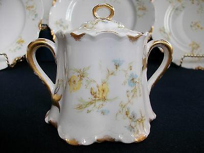 Haviland #9196 (1907+) Covered Sugar Bowl-Yellow/blue Floral-Beauty! Mint! Gilt!