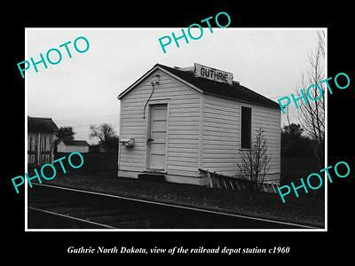 OLD LARGE HISTORIC PHOTO OF GUTHRIE NORTH DAKOTA RAILROAD DEPOT STATION c1960