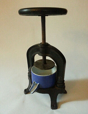 Rare Antique Vintage Cast Iron & Enamel Fruit Press