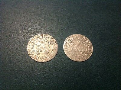 2x Silver Hammered Coin 1/24 Thaler 1620 and 1623 #1