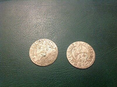 2x Silver Hammered Coin 1/24 Thaler 1623 and 1625 #6