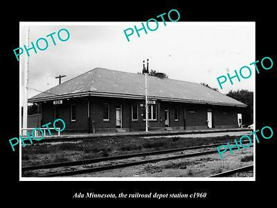 OLD LARGE HISTORIC PHOTO OF ADA MINNESOTA, THE RAILROAD DEPOT STATION c1960