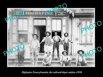 OLD LARGE HISTORIC PHOTO OF HIGHSPIRE PENNSYLVANIA, THE RAILROAD STATION c1910