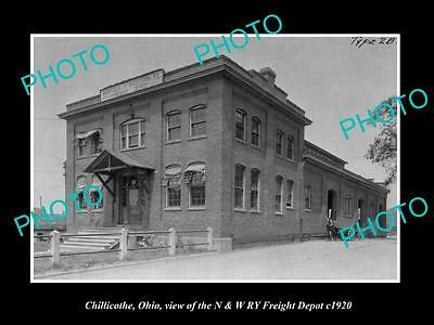 OLD LARGE HISTORIC PHOTO OF CHILLICOTHE OHIO, THE RAILROAD FREIGHT DEPOT c1920