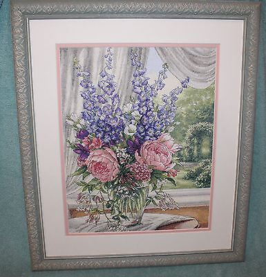 Finished PEONIES & DELPHINIUMS Dimensions Gold Collection Matted & Framed