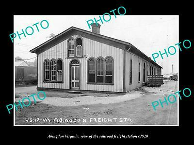 OLD LARGE HISTORIC PHOTO OF ABINGDON VIRGINIA, THE RAILROAD DEPOT STATION c1920
