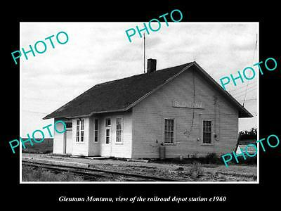OLD LARGE HISTORIC PHOTO OF GLENTANA MONTANA, THE RAILROAD DEPOT STATION c1960