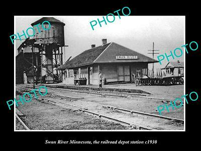 OLD LARGE HISTORIC PHOTO OF SWAN RIVER MINNESOTA, RAILROAD DEPOT STATION c1930