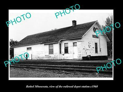 OLD LARGE HISTORIC PHOTO OF BETHEL MINNESOTA, THE RAILROAD DEPOT STATION c1960