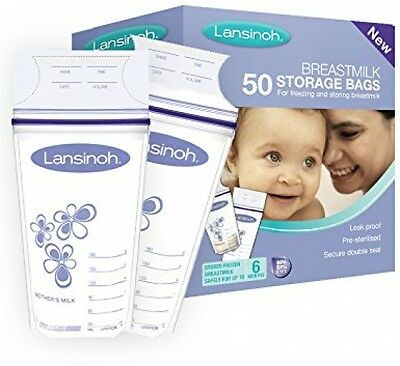 Lansinoh Breastmilk Storage Bags (50 Pieces) For Freezing - Pre-sterilised *NEW*