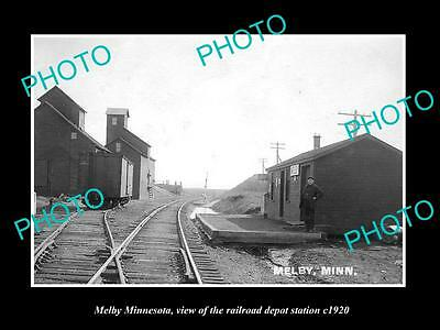 OLD LARGE HISTORIC PHOTO OF MELBY MINNESOTA, RAILROAD DEPOT STATION c1920