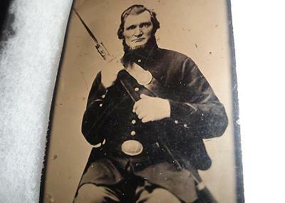 Civil War Armed Union Cavalry Soldier Tintype Rifle Breast Plate Us Buckle