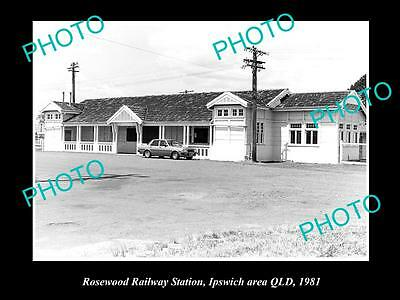 OLD LARGE HISTORIC PHOTO OF ROSEWOOD QLD, VIEW OF THE RAILWAY STATION c1981