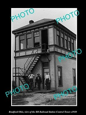 OLD LARGE HISTORIC PHOTO OF BRADFORD OHIO, THE BR RAILROAD STATION TOWER c1930