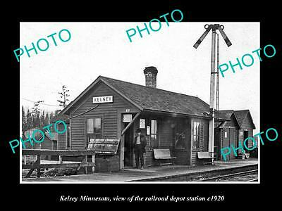 OLD LARGE HISTORIC PHOTO OF KELSEY MINNESOTA, THE RAILROAD DEPOT STATION c1920