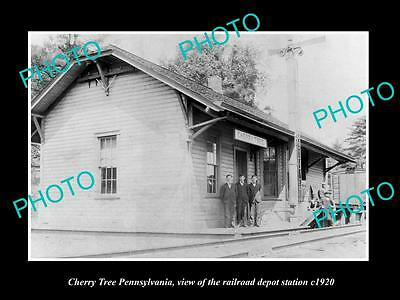 OLD LARGE HISTORIC PHOTO OF CHERRY TREE PENNSYLVANIA, THE RAILROAD DEPOT c1920