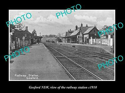 OLD LARGE HISTORIC PHOTO OF GOSFORD NSW, VIEW OF THE RAILWAY STATION c1910