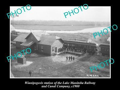 OLD LARGE HISTORIC PHOTO OF WINNIPEGOSIS, CANADA, THE RAILWAY STATION c1900