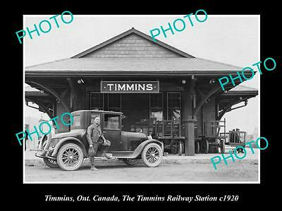 OLD LARGE HISTORIC PHOTO OF TIMMINS CANADA, THE TIMMINS RAILWAY STATION c1920