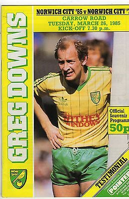 NORWICH CITY '85 vs Norwich City '75 [Greg Downs Testimonial; 26th March 1985]