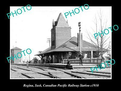 Old Large Historic Photo Of Regina Canada, Canadian Pacific Railway Station 1910