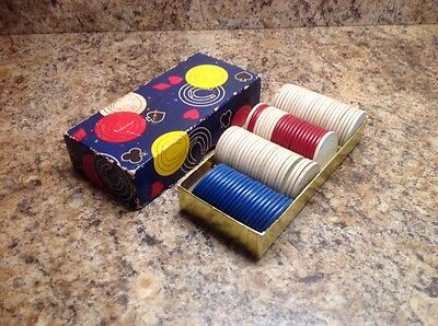Lot Of Vintage Poker Chips With Box Nice Rare