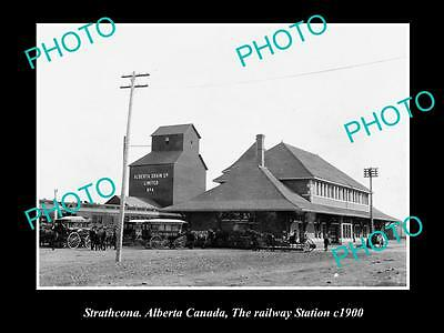 Old Large Historic Photo Of Strathcona, Alberta Canada, The Railway Station 1900