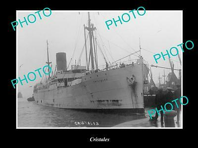 OLD LARGE HISTORIC MERCHANT SHIP PHOTO OF THE STEAMSHIP SS CRISTALES c1920s