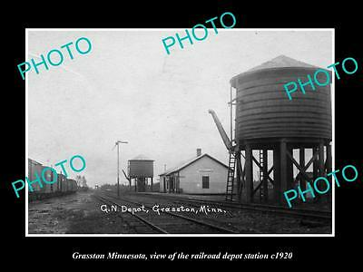 OLD LARGE HISTORIC PHOTO OF GRASSTON MINNESOTA, RAILROAD DEPOT STATION c1920