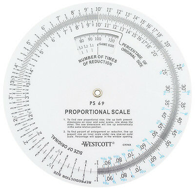 "Wescott 5"" Proportional Scale Shows Percentage & Number Times Reductions"