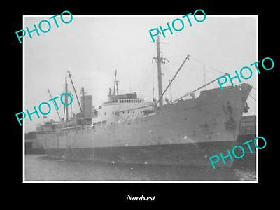 OLD LARGE HISTORIC MERCHANT SHIP PHOTO OF THE STEAMSHIP SS NORDVEST c1920s
