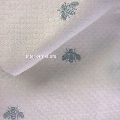 3PC CAPECCHI Napoleon Bee QUEEN COVERLET SHAM SET TEAL IVORY Pique made in ITALY