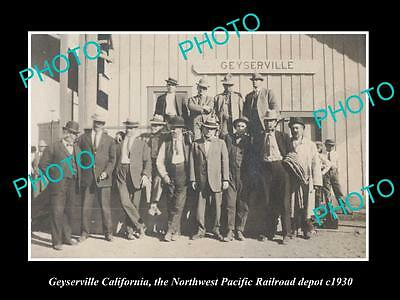 OLD LARGE HISTORIC PHOTO OF GEYERSVILLE CALIFORNIA, RAILROAD DEPOT STATION c1930