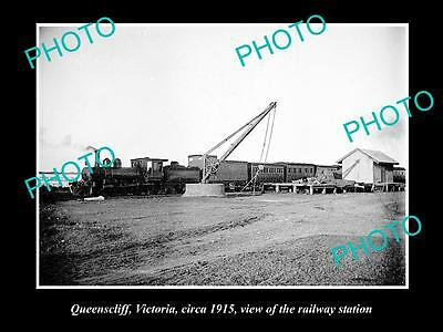 Old Large Historic Photo Of Queenscliff Vic, View Of The Railway Station 1915