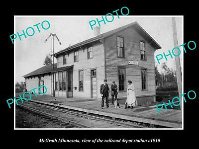 OLD LARGE HISTORIC PHOTO OF McGRATH MINNESOTA, THE RAILROAD DEPOT STATION c1910