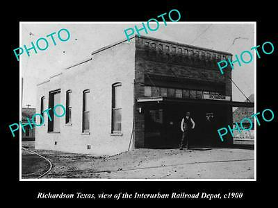 Old Large Historic Photo Of Richardson Texas, The Interurban Railroad Depot 1900