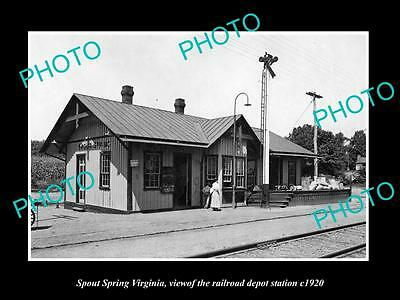 OLD LARGE HISTORIC PHOTO OF SPOUT SPRING VIRGINIA, RAILROAD DEPOT STATION c1920