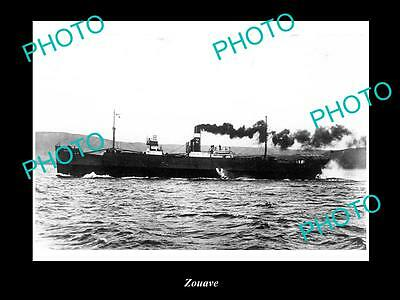 OLD LARGE HISTORIC MERCHANT SHIP PHOTO OF THE STEAMSHIP SS ZOUAVE c1920s