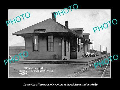 OLD LARGE HISTORIC PHOTO OF LEWISVILLE MINNESOTA, RAILROAD DEPOT STATION c1920