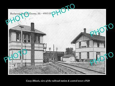 OLD LARGE HISTORIC PHOTO OF CASEY ILLINOIS, THE RAILROAD SIGNAL TOWER c1920