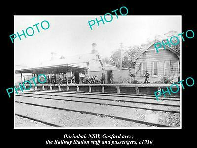 OLD LARGE HISTORIC PHOTO OF OURIMBAH NSW, GOSFORD AREA , RAILWAY STATION c1910