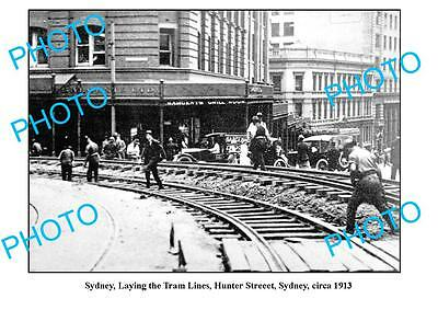 OLD LARGE PHOTO, SYDNEY NSW, LAYING OF THE TRAM LINES, HUNTER STREET c1913